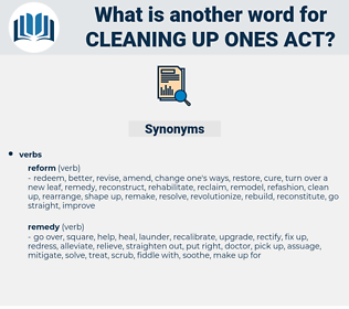 cleaning up ones act, synonym cleaning up ones act, another word for cleaning up ones act, words like cleaning up ones act, thesaurus cleaning up ones act