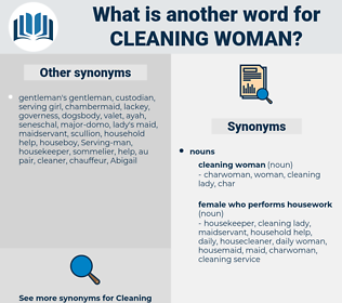 cleaning woman, synonym cleaning woman, another word for cleaning woman, words like cleaning woman, thesaurus cleaning woman