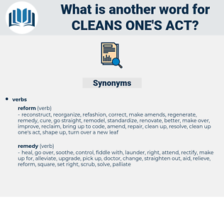 cleans one's act, synonym cleans one's act, another word for cleans one's act, words like cleans one's act, thesaurus cleans one's act