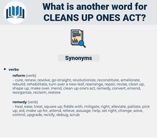 cleans up ones act, synonym cleans up ones act, another word for cleans up ones act, words like cleans up ones act, thesaurus cleans up ones act
