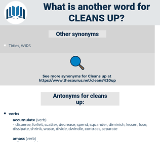 cleans up, synonym cleans up, another word for cleans up, words like cleans up, thesaurus cleans up