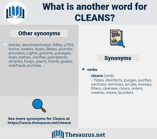 cleans, synonym cleans, another word for cleans, words like cleans, thesaurus cleans