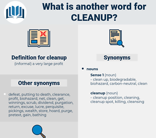 cleanup, synonym cleanup, another word for cleanup, words like cleanup, thesaurus cleanup