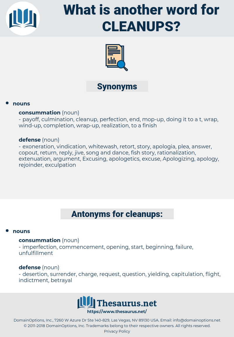 cleanups, synonym cleanups, another word for cleanups, words like cleanups, thesaurus cleanups