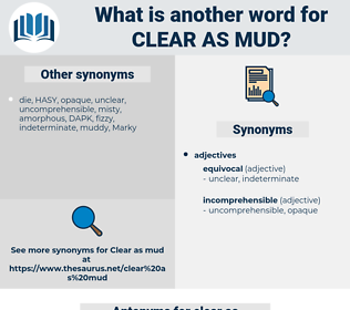 clear as mud, synonym clear as mud, another word for clear as mud, words like clear as mud, thesaurus clear as mud