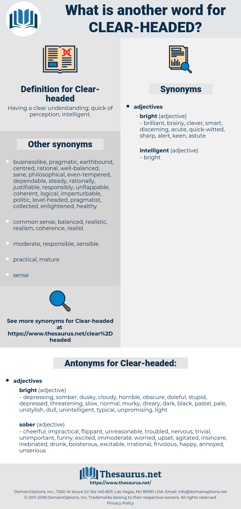 Clear-headed, synonym Clear-headed, another word for Clear-headed, words like Clear-headed, thesaurus Clear-headed