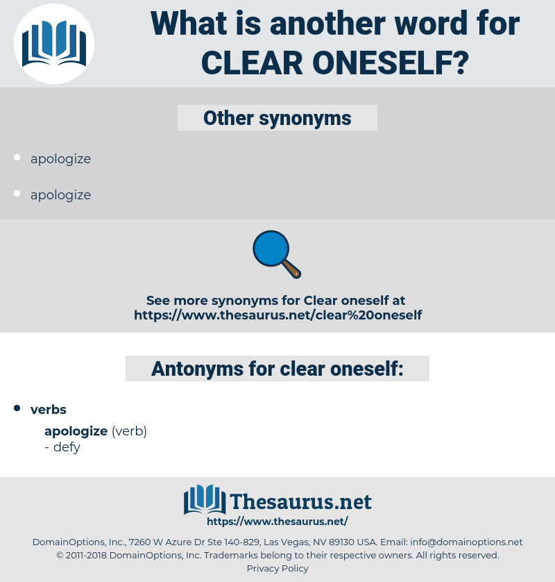clear oneself, synonym clear oneself, another word for clear oneself, words like clear oneself, thesaurus clear oneself