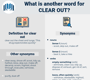 clear out, synonym clear out, another word for clear out, words like clear out, thesaurus clear out