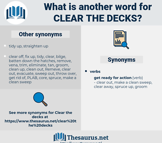 clear the decks, synonym clear the decks, another word for clear the decks, words like clear the decks, thesaurus clear the decks