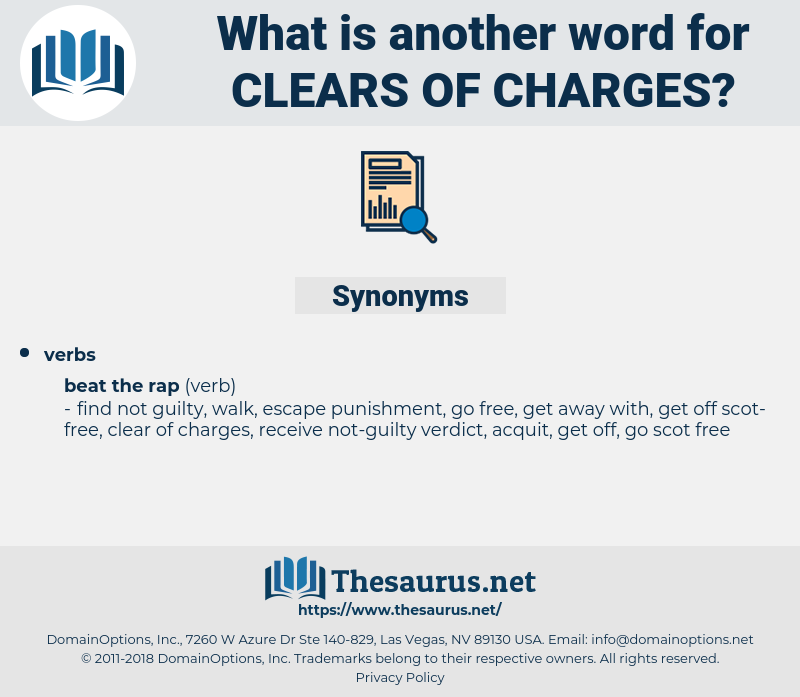 clears of charges, synonym clears of charges, another word for clears of charges, words like clears of charges, thesaurus clears of charges