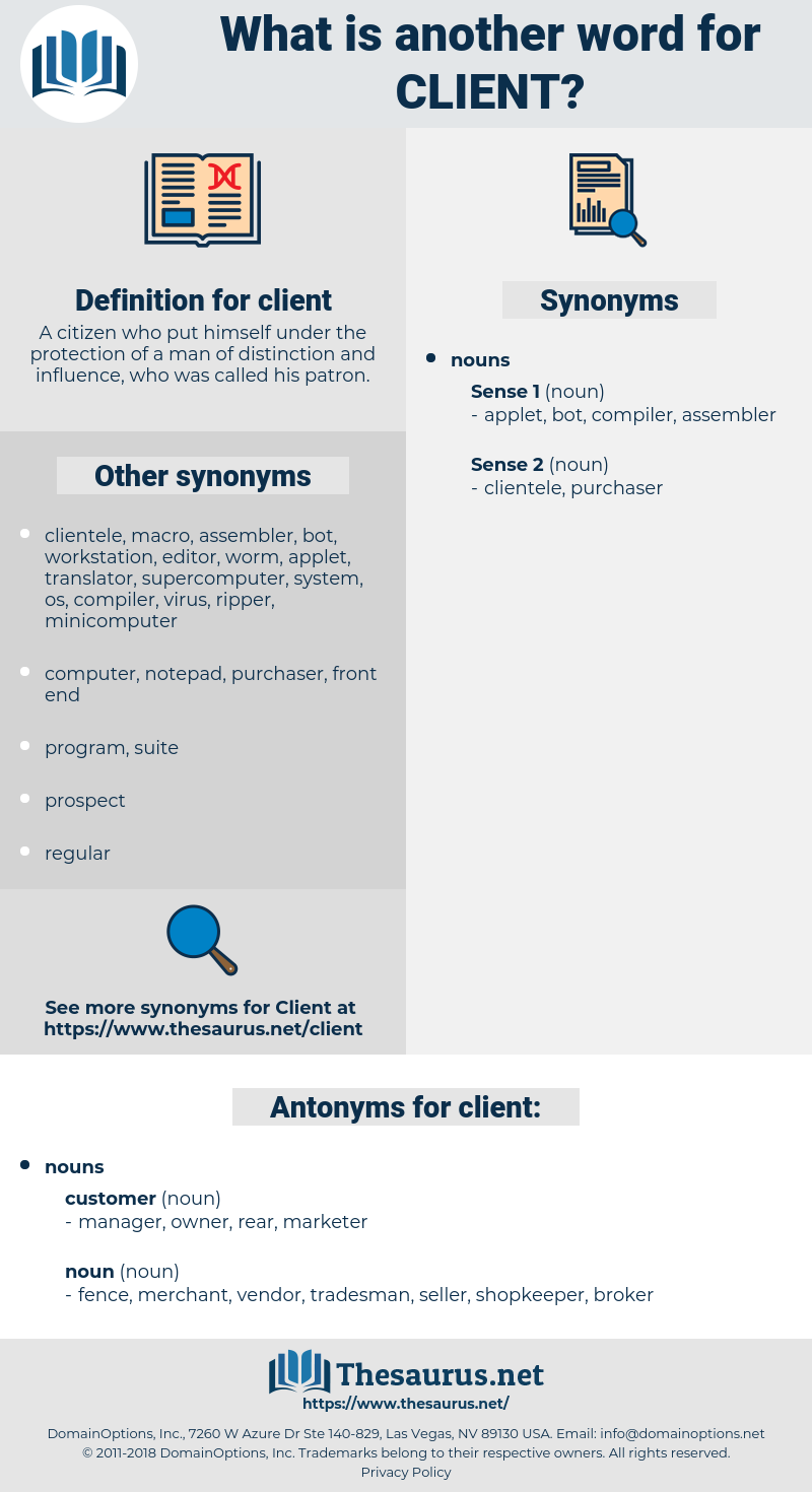 client, synonym client, another word for client, words like client, thesaurus client