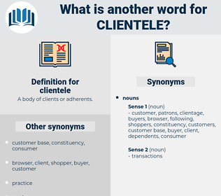 clientele, synonym clientele, another word for clientele, words like clientele, thesaurus clientele