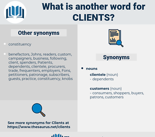 Clients, synonym Clients, another word for Clients, words like Clients, thesaurus Clients