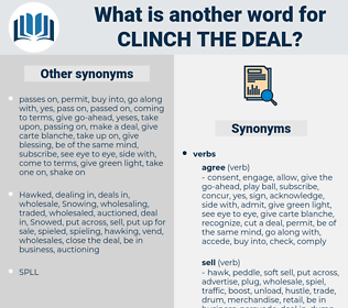 clinch the deal, synonym clinch the deal, another word for clinch the deal, words like clinch the deal, thesaurus clinch the deal