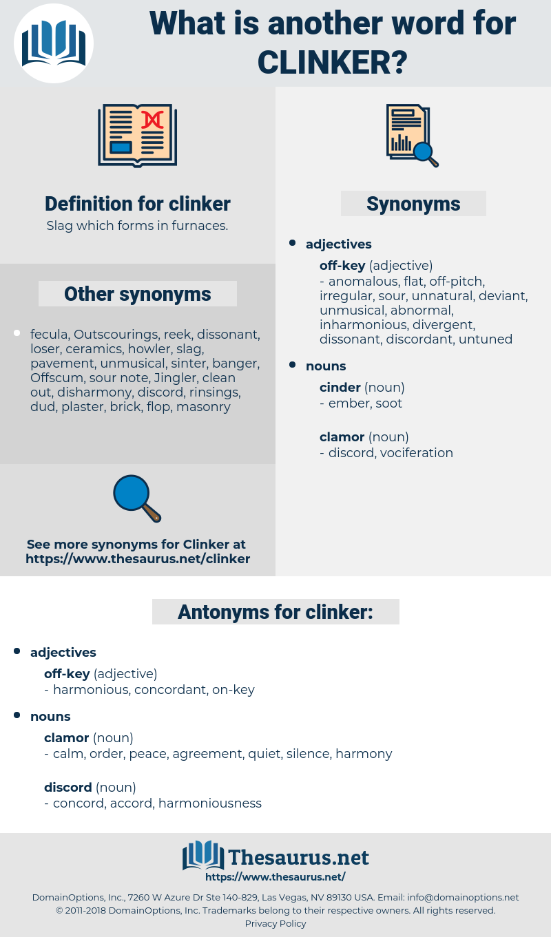 clinker, synonym clinker, another word for clinker, words like clinker, thesaurus clinker