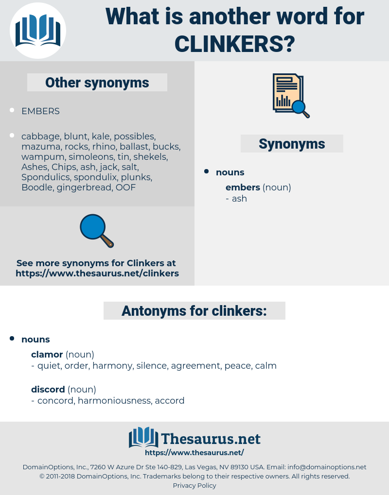 clinkers, synonym clinkers, another word for clinkers, words like clinkers, thesaurus clinkers