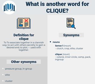clique, synonym clique, another word for clique, words like clique, thesaurus clique