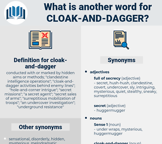 cloak-and-dagger, synonym cloak-and-dagger, another word for cloak-and-dagger, words like cloak-and-dagger, thesaurus cloak-and-dagger
