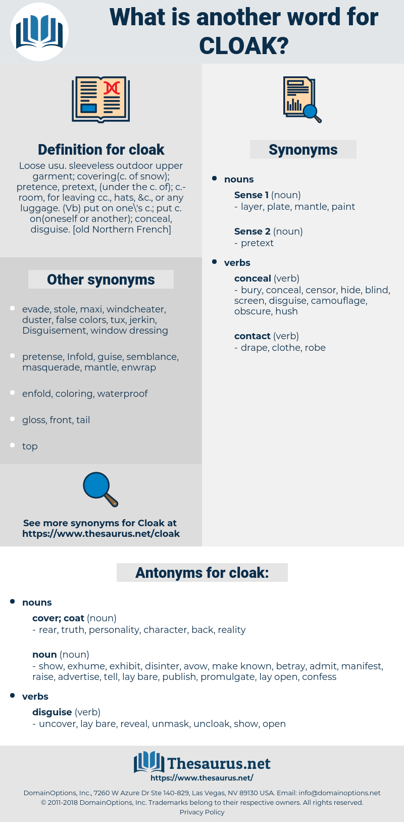 cloak, synonym cloak, another word for cloak, words like cloak, thesaurus cloak