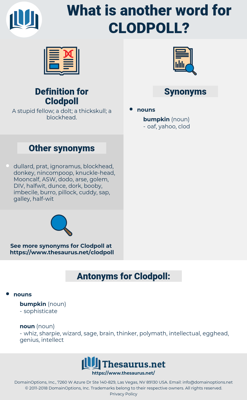 Clodpoll, synonym Clodpoll, another word for Clodpoll, words like Clodpoll, thesaurus Clodpoll