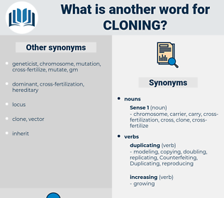 cloning, synonym cloning, another word for cloning, words like cloning, thesaurus cloning