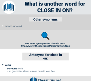close in on, synonym close in on, another word for close in on, words like close in on, thesaurus close in on
