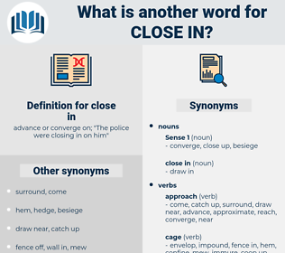close in, synonym close in, another word for close in, words like close in, thesaurus close in