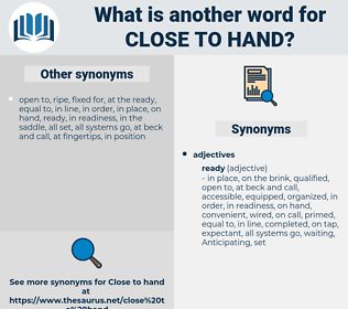 close to hand, synonym close to hand, another word for close to hand, words like close to hand, thesaurus close to hand