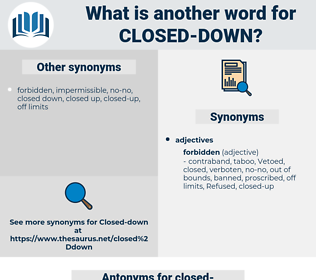 closed-down, synonym closed-down, another word for closed-down, words like closed-down, thesaurus closed-down