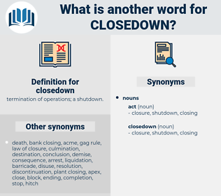 closedown, synonym closedown, another word for closedown, words like closedown, thesaurus closedown