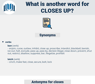 closes up, synonym closes up, another word for closes up, words like closes up, thesaurus closes up