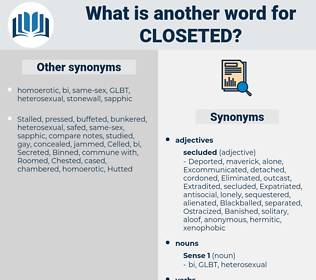 closeted, synonym closeted, another word for closeted, words like closeted, thesaurus closeted