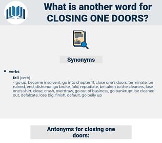 closing one doors, synonym closing one doors, another word for closing one doors, words like closing one doors, thesaurus closing one doors