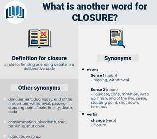 closure, synonym closure, another word for closure, words like closure, thesaurus closure