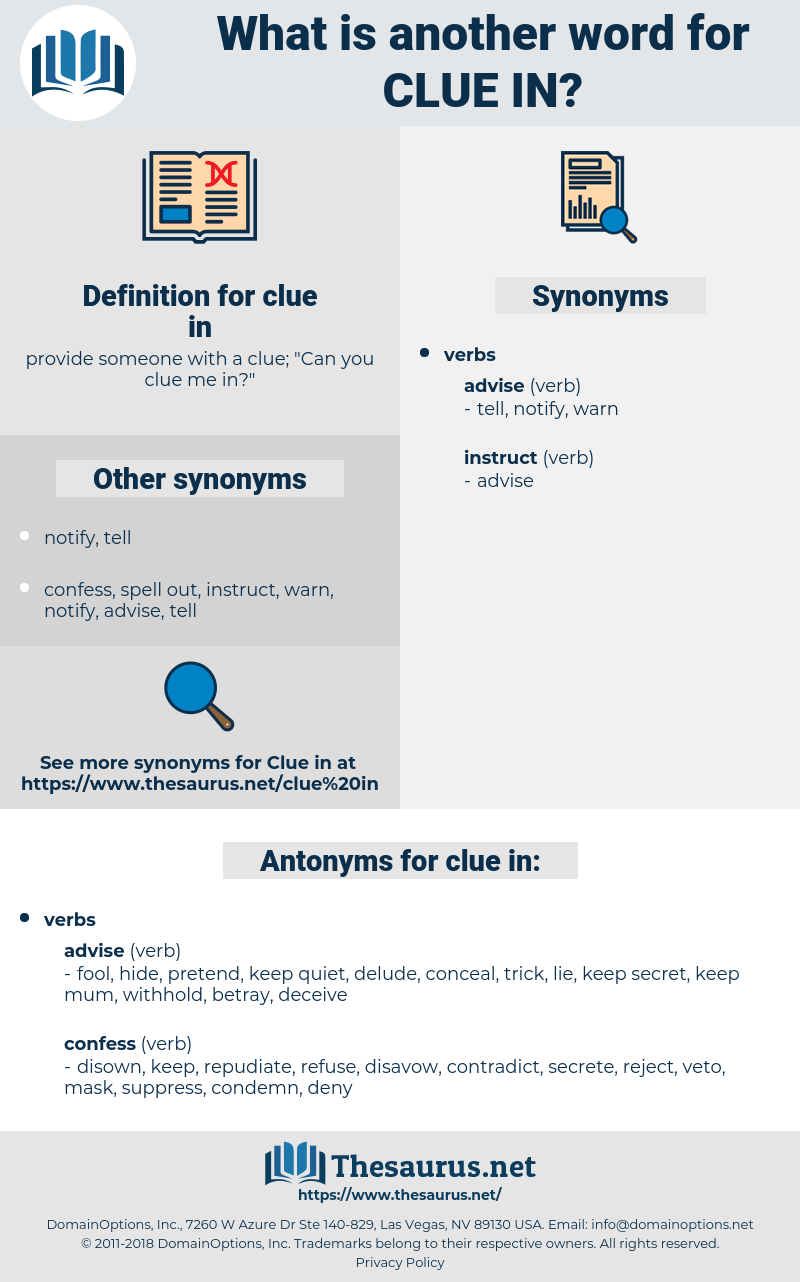 clue in, synonym clue in, another word for clue in, words like clue in, thesaurus clue in