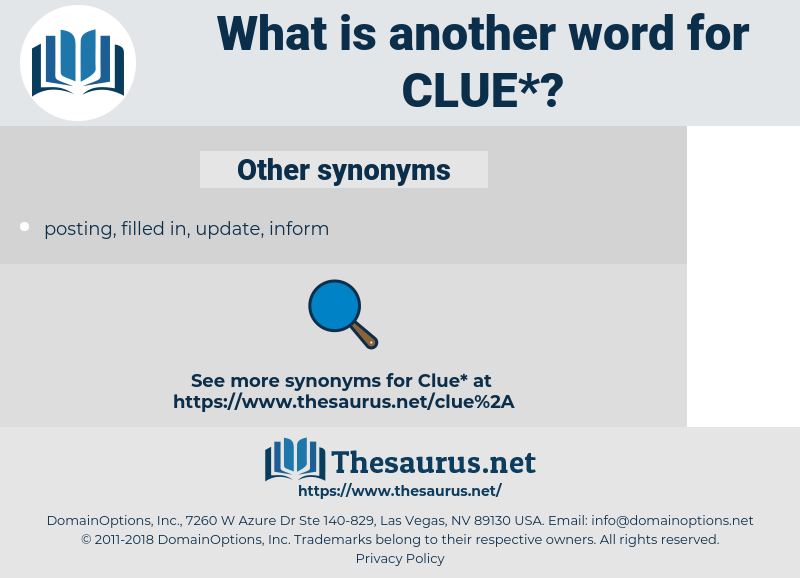 clue, synonym clue, another word for clue, words like clue, thesaurus clue