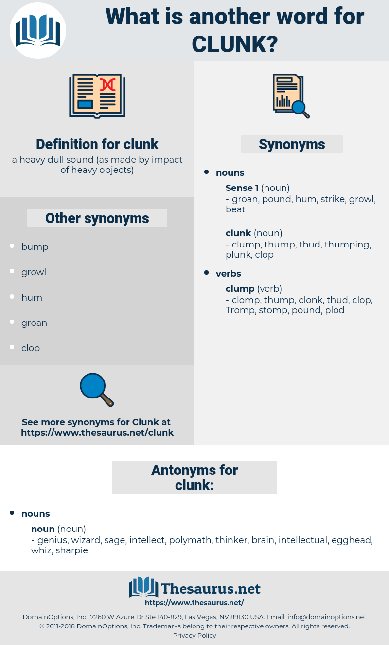clunk, synonym clunk, another word for clunk, words like clunk, thesaurus clunk