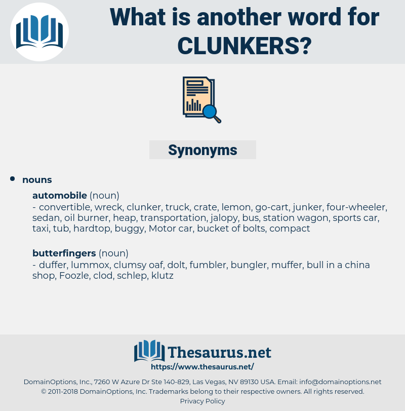 clunkers, synonym clunkers, another word for clunkers, words like clunkers, thesaurus clunkers