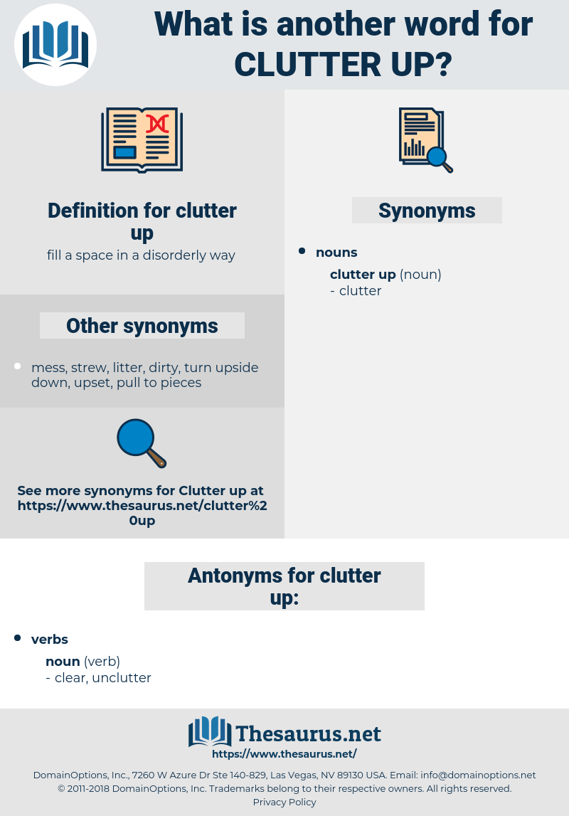 clutter up, synonym clutter up, another word for clutter up, words like clutter up, thesaurus clutter up