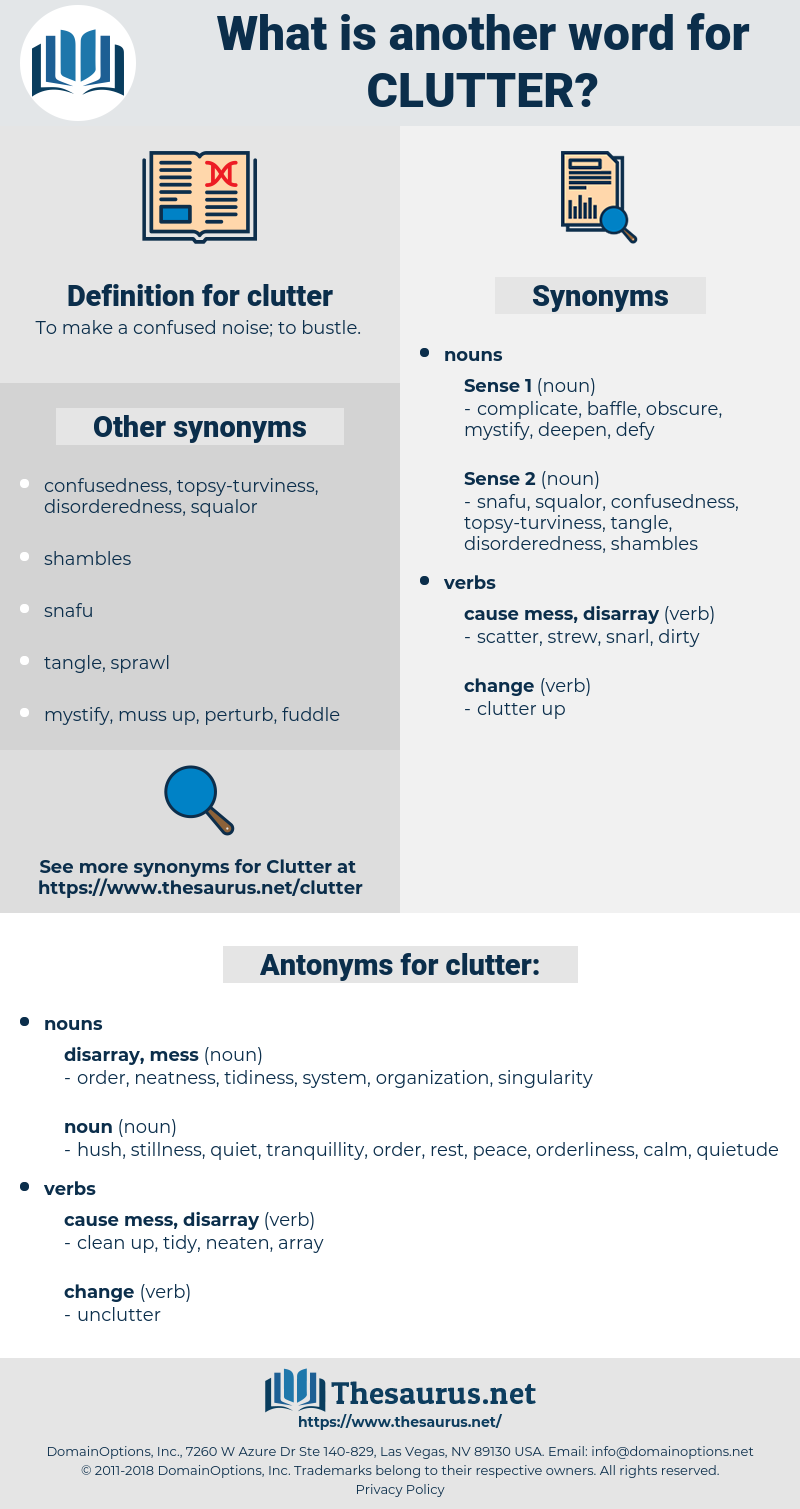 clutter, synonym clutter, another word for clutter, words like clutter, thesaurus clutter