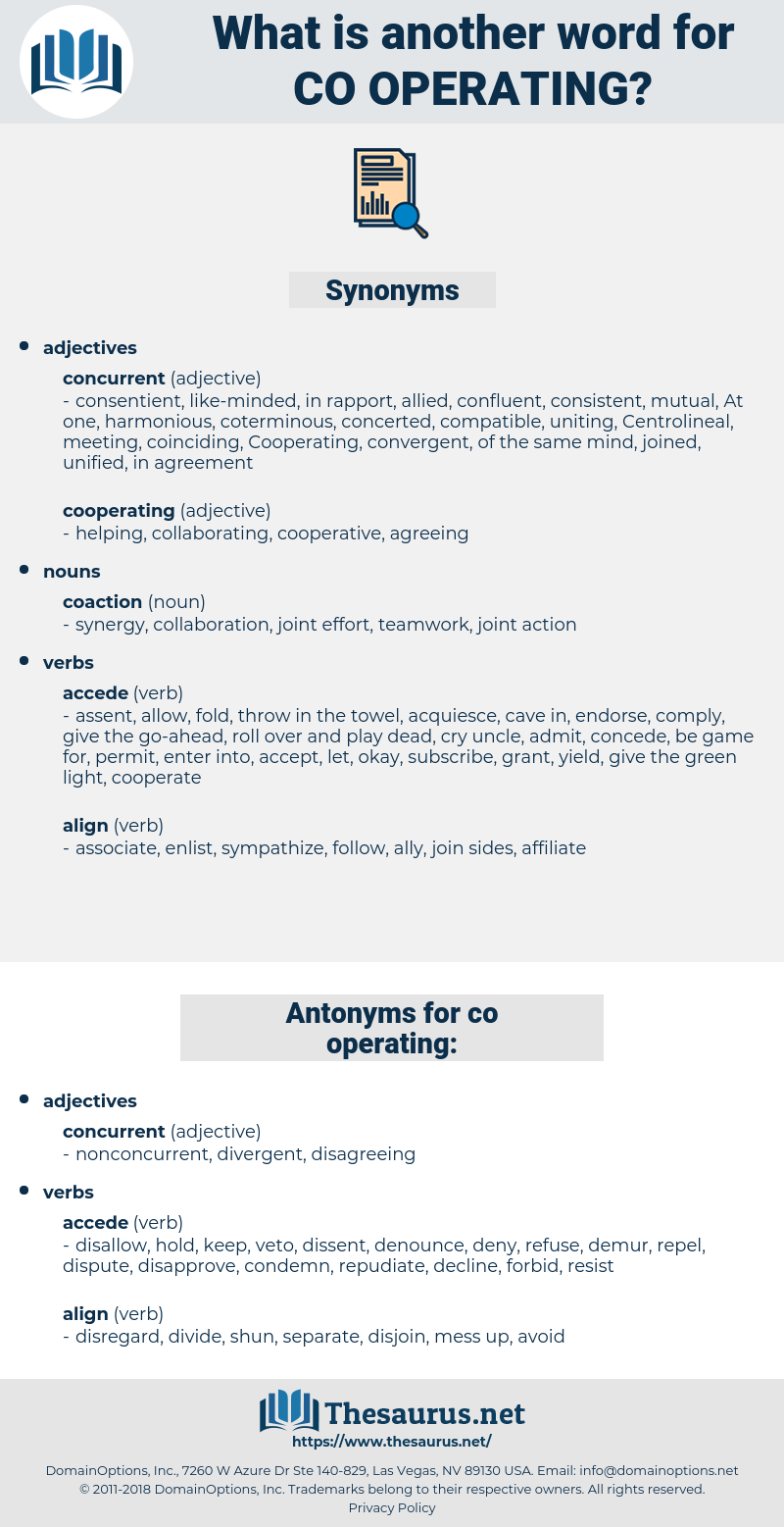 co-operating, synonym co-operating, another word for co-operating, words like co-operating, thesaurus co-operating