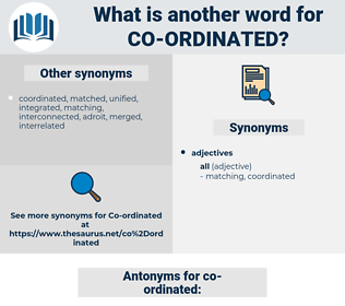 co-ordinated, synonym co-ordinated, another word for co-ordinated, words like co-ordinated, thesaurus co-ordinated