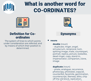 Co-ordinates, synonym Co-ordinates, another word for Co-ordinates, words like Co-ordinates, thesaurus Co-ordinates