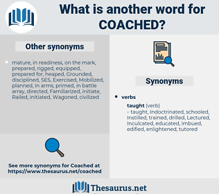 Coached, synonym Coached, another word for Coached, words like Coached, thesaurus Coached