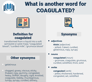 coagulated, synonym coagulated, another word for coagulated, words like coagulated, thesaurus coagulated