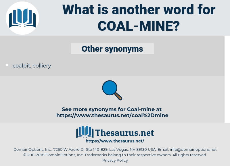 coal mine, synonym coal mine, another word for coal mine, words like coal mine, thesaurus coal mine