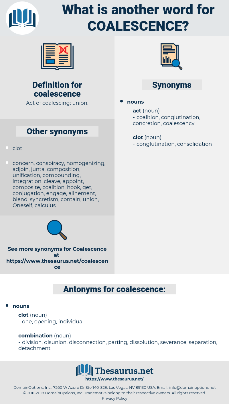 coalescence, synonym coalescence, another word for coalescence, words like coalescence, thesaurus coalescence