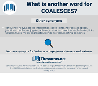coalesces, synonym coalesces, another word for coalesces, words like coalesces, thesaurus coalesces