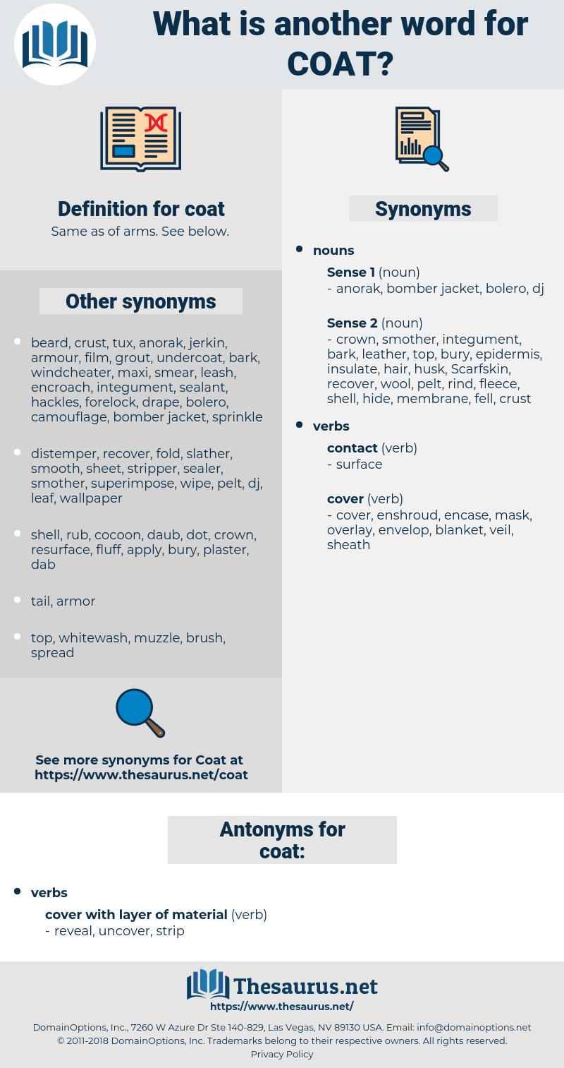 coat, synonym coat, another word for coat, words like coat, thesaurus coat