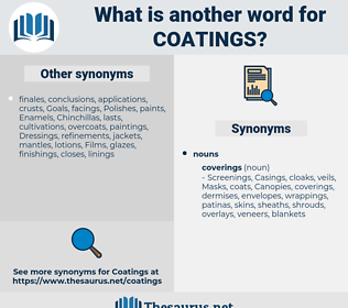 coatings, synonym coatings, another word for coatings, words like coatings, thesaurus coatings